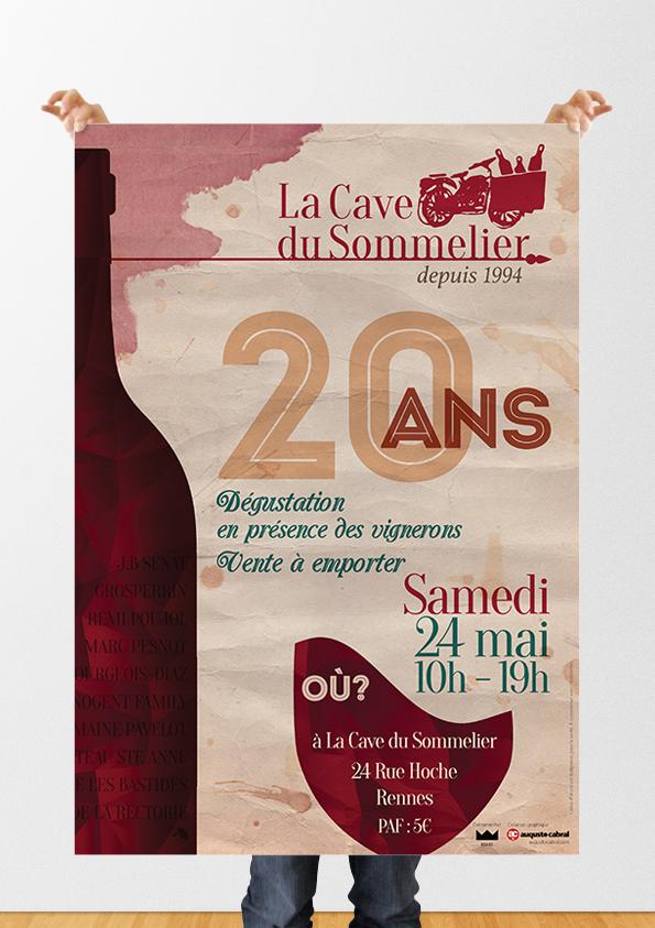 Affiche et carte de visite La Cave du Sommelier - Graphiste Rennes